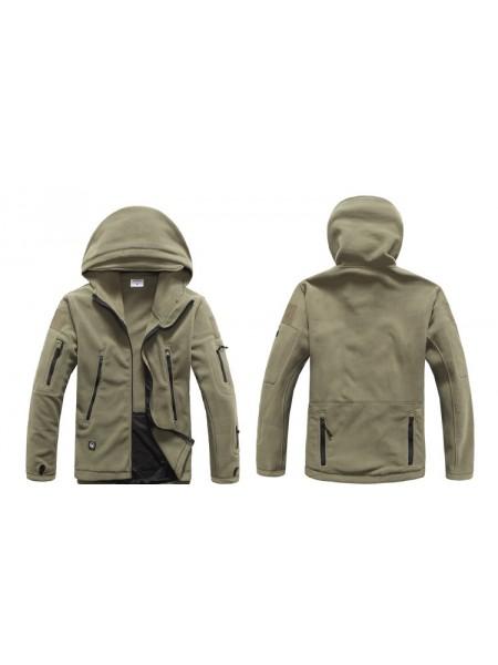 Куртка флисовая тактическая зеленая с капюшоном XL