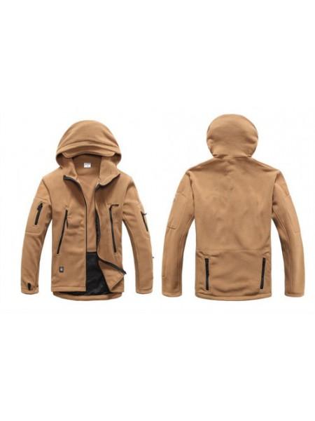 Куртка флисовая тактическая коричневая с капюшоном S