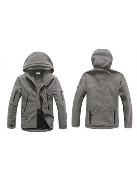 Куртка флисовая тактическая серая с капюшоном XL