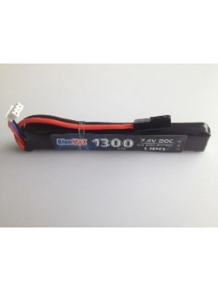 АКБ BlueMAX 1300mAh Lipo 7.4V 20C stick 13.5x21x128mm приклад весло, крейнсток, АК под крышку