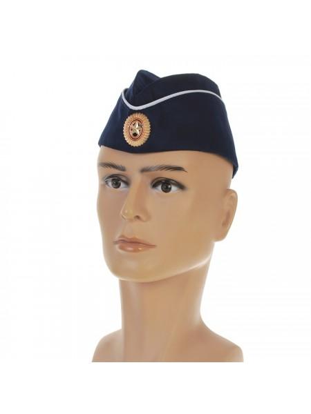 Пилотка с кокардой, обхват головы 54-57 см, цвет синий с белым кантом