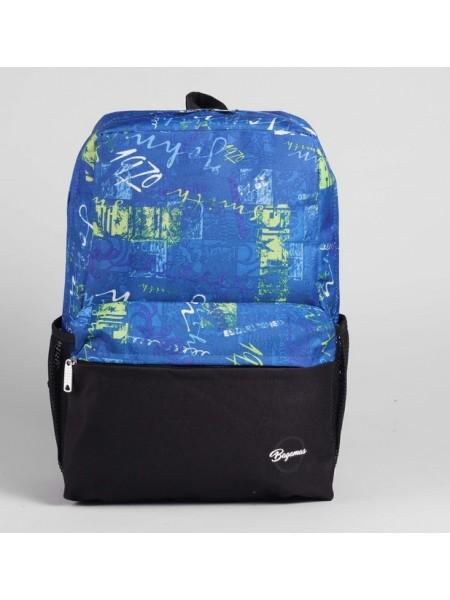 """Рюкзак молодёжный """"Абстракция"""", 1 отдел, 2 наружных и 2 боковых кармана, чёрный/голубой"""