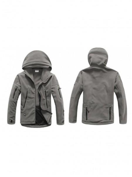 Куртка флисовая тактическая серая с капюшоном XXL