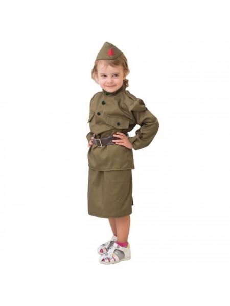 """Костюм """"Солдаточка"""" (юбка, гимнастерка, ремень, пилотка) 8-10 лет рост 140-152"""