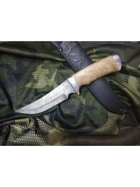 """Нож нескладной """"Лист"""" СН-6, г.Павлово, дамасская сталь, рукоять-орех"""