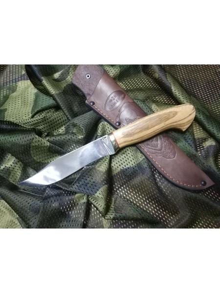 Нож охотничий кованая сталь х12мф, зебрано, полная взрезка, зеркальня оковка мельхиор / Ножемир Росс