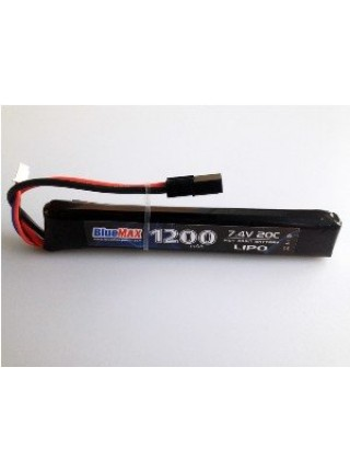 АКБ BlueMax 7.4V Lipo 1200mAh 20C stick 13.3x21x128 М-серия цевье, приклад, G36, М-серия