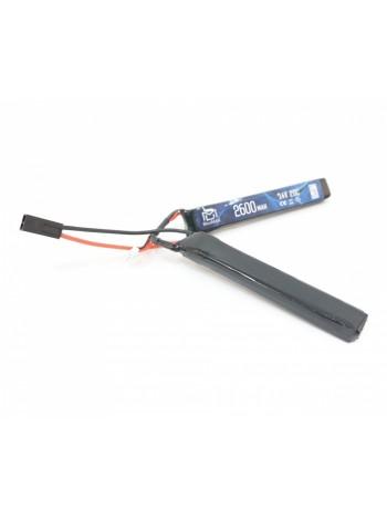 АКБ BlueMAX 7.4V Lipo 2600mAh 20C nunchuck 2x (12.5x21x128) М-серия цевье, приклад