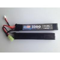 АКБ BlueMAX 7.4V Lipo 3300mAh 20C nunchuck 2x (19x21x128) М-серия цевье, приклад