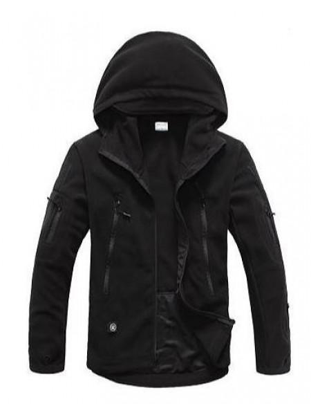 Куртка флисовая тактическая черная с капюшоном XXL