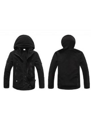 Куртка флисовая тактическая черная с капюшоном L